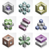 Vector Cubic Abstract Objects Royalty Free Stock Photos