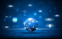 Vector cuidados médicos abstratos do globo e o fundo médico do conceito Fotografia de Stock