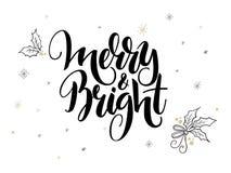 Vector cumprimentos do Natal da rotulação da mão text - alegre e brilhante - com folhas e flocos de neve do azevinho ilustração do vetor