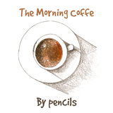 Vector cup of coffe by color pencils Stock Photo
