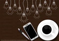 Vector cup of coffee with business ideas, light bulbs, pens, mobile phones, coffee cups, flat design. Royalty Free Stock Photography