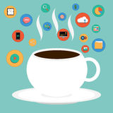 Vector Cup of Coffee with SEO icon Royalty Free Stock Image