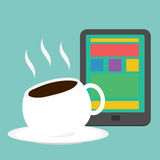 Vector Cup of Coffee with tablet Royalty Free Stock Photography