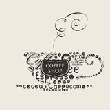 Vector cup of coffee of the words and grains. Template vector banner for coffee shop with cup of coffee of the words and grains vector illustration