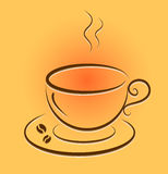 Vector cup with hot coffee. Royalty Free Stock Photography