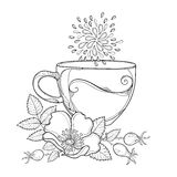 Vector cup of Rosehip herbal tea isolated on white background. Outline Dog rose flower, hips and leaves in contour style. Stock Images