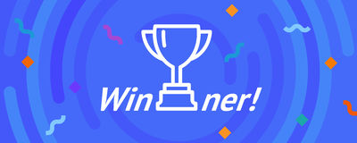 Vector cup. Thin line victory bowl. Trophy super bowl icon. White super cup isolated on blue background. Triumph prize. Stock Image