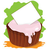 Vector cupcake with card for text Stock Image