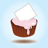Vector cupcake with card for text Royalty Free Stock Image
