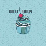 Vector cupcake with cherry Royalty Free Stock Image