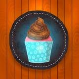 Vector cupcake with chocolate cream. Stock Photography