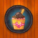 Vector cupcake with chocolate cream. Stock Image