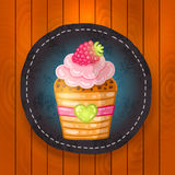 Vector cupcake with chocolate, raspberry Stock Photography