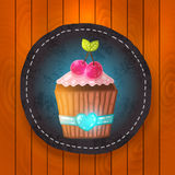 Vector cupcake with cream and cherry. Royalty Free Stock Photos