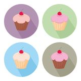 Vector cupcake flat icon set isolated on white background Stock Photography
