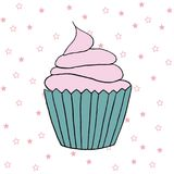 Vector cupcake illustration. Set of hand drawn cupcakes. Cakes with cream and berries Royalty Free Stock Photos