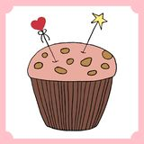 Vector cupcake illustration. Set of hand drawn cupcakes. Cakes with cream and berries Stock Image