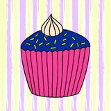 Vector cupcake illustration. Set of hand drawn cupcakes. Cakes with cream and berries Royalty Free Stock Photography