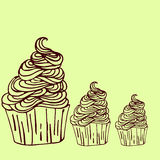 Vector cupcake illustration. Set of hand drawn cupcakes. Doodle cakes Stock Images