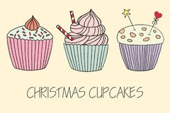 Vector cupcake illustration.  Set of hand drawn cupcakes. Royalty Free Stock Images