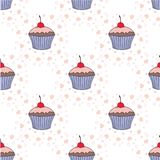 Vector cupcake illustration.  Set of hand drawn cupcakes.  Doodle cakes with cream and berries. Vector cupcake illustration. Set of hand drawn cupcakes. Doodle Royalty Free Stock Images