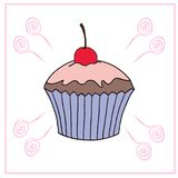 Vector cupcake illustration. Set of hand drawn cupcakes. Cakes with cream and berries Royalty Free Stock Image