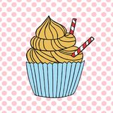 Vector cupcake illustration. Set of hand drawn cupcakes. Cakes with cream and berries Stock Images