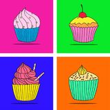 Vector cupcake illustration. Set of hand drawn cupcakes. Doodle cakes with cream and berries Stock Image