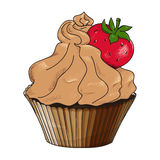 Vector cupcake isolated on white Stock Photos