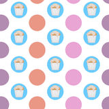 Vector cupcake pattern. Vector cupcake in circles pattern Stock Images