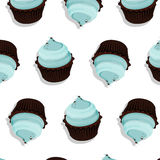 Vector cupcake pattern. Cream dessert with chocolate on top, tasty illustration. Bakery cake decoration. Graphic Stock Images