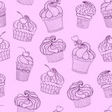 Vector  cupcake seamless pattern Royalty Free Stock Photo