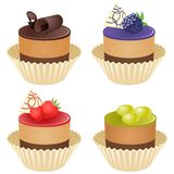 Vector cupcakes. Illustration of isolated set of beautiful cupcakes Royalty Free Stock Photo