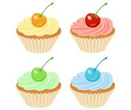 Vector cupcakes. Illustration of isolated set of beautiful cupcakes Royalty Free Stock Photos