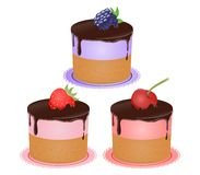 Vector cupcakes. Illustration of isolated set of beautiful cupcakes Royalty Free Stock Images