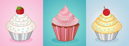 Vector cupcakes Stock Photos