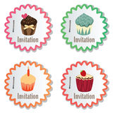 vector cupcakes op document stickers Royalty-vrije Stock Foto's