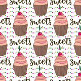 Vector cupcakes seamless pattern. Doodle background with sweets cakes. Birthday decoration Stock Photography