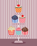vector cupcakes on a stand Royalty Free Stock Photo