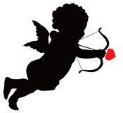 Vector Cupid. Cupid with bow and arrow vector silhouette Stock Image