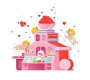 Vector cupids workplace on love gift factory. Royalty Free Stock Images