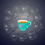 Vector cups, handwritten words Keep Calm and Drink Tea. Royalty Free Stock Photos