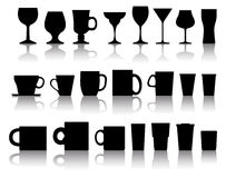 Vector cups, mugs, wineglasses Royalty Free Stock Photos