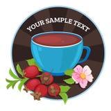 Vector cups of tea with briar. Tea card template for restaurant, cafe, bar. Vector illustration. Vector cups of tea with grape. Tea card template for restaurant Stock Image
