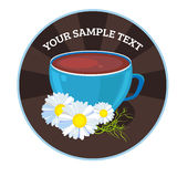 Vector cups of tea with chamomile. Tea card template for restaurant, cafe, bar. Vector illustration. Vector cups of tea with grape. Tea card template for Stock Photography