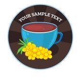 Vector cups of tea with sea buckthorn. Tea card template for restaurant, cafe, bar. Vector illustration. Vector cups of tea with grape. Tea card template for vector illustration