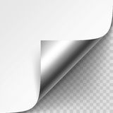Vector Curled Silver Metalic Corner of White Paper with Shadow Mock up Isolated on Transparent Background Royalty Free Stock Photography