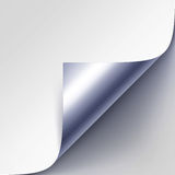 Vector Curled Silver Metallic Corner of White Paper with Shadow Close up  on Gray Background Stock Photo
