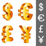 Vector currency symbols. Golden currency symbols, isolated on white background Stock Images