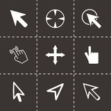 Vector cursor icons set. On black background Stock Photo